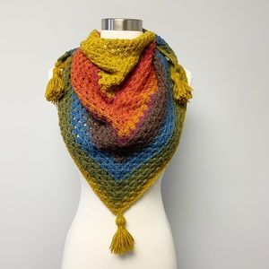 Handmade Crochet Triangle Granny Stitch Shawl